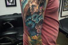 Super colorful tattoo on the whole arm