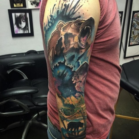 Super colorful tattoo on the whole arm