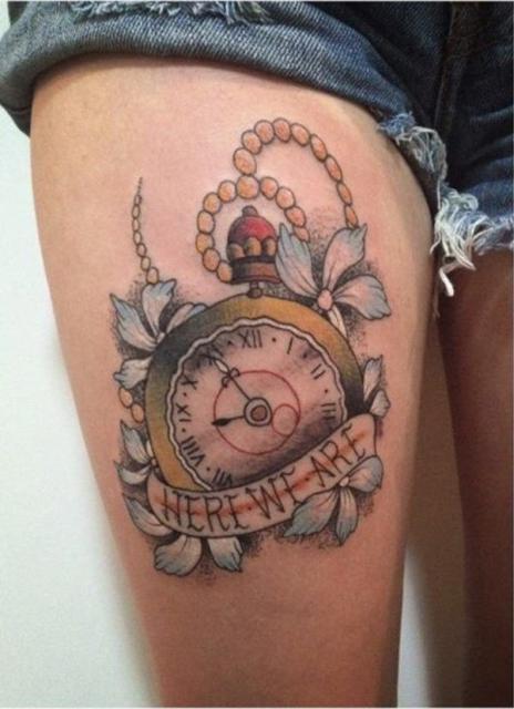Tattoo design on the thigh