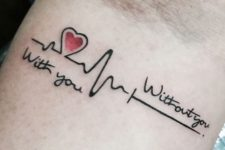Tattoo with red heart and phrases