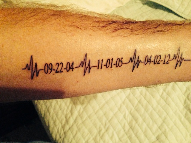 Tattoo with three important dates