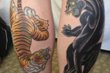 Tiger and panther tattoos on the both legs