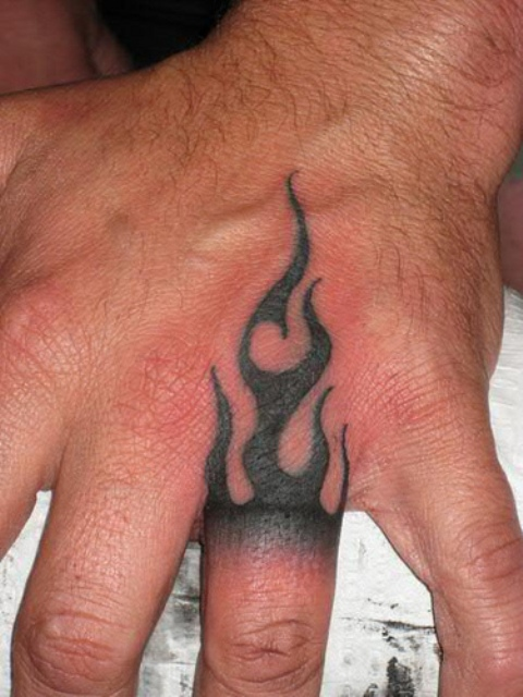 Tiny flame tattoo on the finger