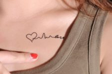 Tiny tattoo on the collarbone