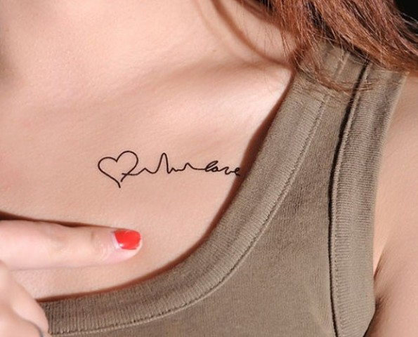 Tiny tattoo on the collarbone