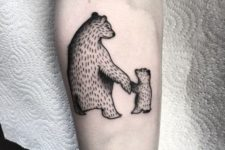 Two bears holding hands tattoo
