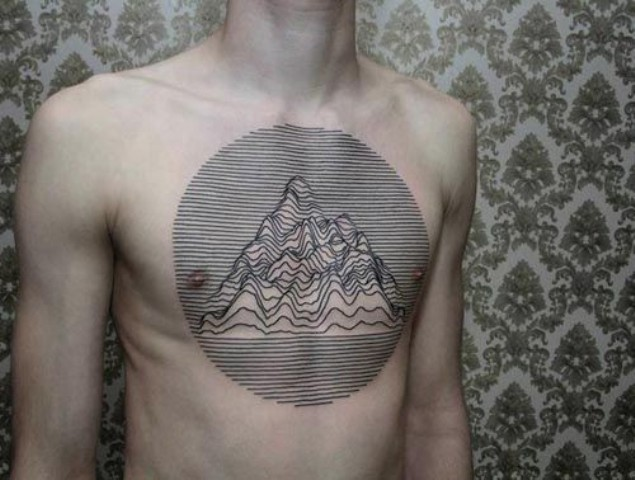 Unique mountain tattoo on the chest