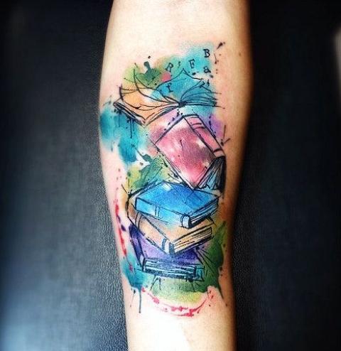 Watercolor books tattoo