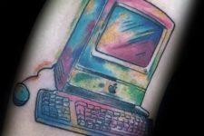 Watercolor computer tattoo idea