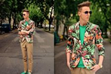With green shirt, tropical printed blazer and camel trousers