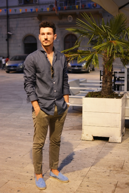 With simple shirt and olive green pants