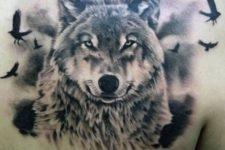 Wolf and birds tattoo