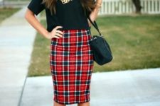 02 a black crop top, a plaid knee pencil skirt, black suede ankle shoes and a bag
