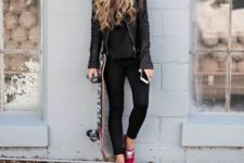 02 black jeans, a black tee, a black leather jacket, a red cap and red sneakers