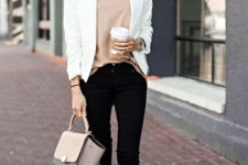 02 black jeans, a neutral top, brown suede booties, a white blazer and a blush and black bag