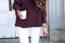 02 white ripped jeans, a burgundy off the shoulder sweater and grey suede booties