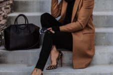 03 a black turtleneck sweater, black skinnies, leopard rpint shoes and a brown coat