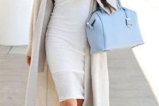 03 a cream knee dress, a neutral long cardigan, nude shoes and a serenity blue bag