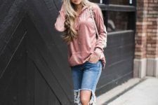 03 a muted pink hoodie, ripped jeans and muted pink sneakers