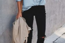 03 black ripped cropped jeans, a chambray shirt, white chucks and a neutral blazer if needed