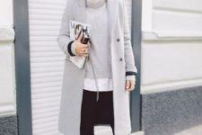 03 black skinnies, a white shirt, a grey sweater, black heels, a grey coat
