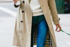 03 blue jeans, an emerald shirt, a white sweater, flats and a beige trench coat