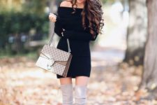 04 a black long sleeve off the shoulder dress, creamy suede high boots and a bag for a sexy look