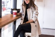 04 black jeans, black shoes, a creamy trench coat and black buttons for a work look