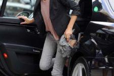 04 grey jeans, a pink top, a black blazer, black strappy sandals