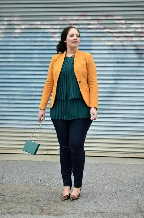 navy skinnies, a dark green ruffle blouse and a yellow blazer, leopard print heels