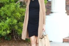05 a black dress, a long camel cardigan, nude shoes and a nude bag