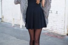 05 a little black dress with a cozy grey cardigan and black leather booties