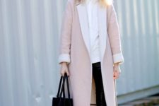05 black cropped leather pants, a white shirt, black heels and a pink midi coat
