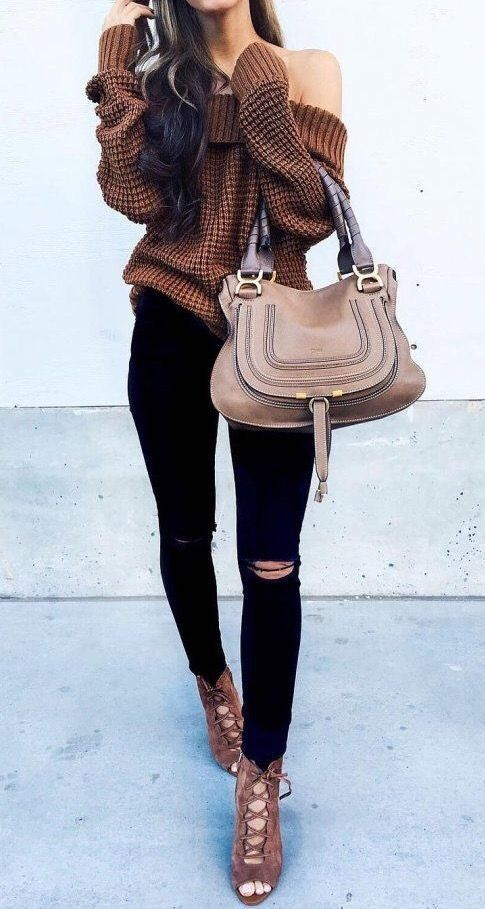 Picture Of brown lace up sandals, black ripped skinnies, a brown ...