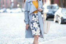 06 a mustard top, a floral print skirt, nude heels and a serenity blue trench coat