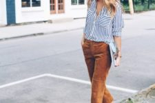 06 a striped black and white shirt, ocher velvet cropped pants and matching heels