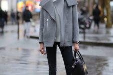 06 black jeans, a white sweater, a short grey coat and black boots