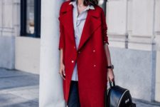 06 black leather pants, a thin striped shirt, a red coat and white sneakers, a black backpack