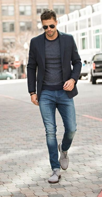 bleached jeans, a grey long sleeve, a black blazer and light grey suede shoes for a chic and < href='https://www.styleoholic.com/casual-men-outfits-winter/'>casual fall look