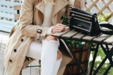 06 white ripped denim, white flats, a white sweater and a beige trench coat with black buttons