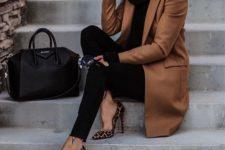 07 a brown coat, a black sweater, black skinnies, leopard print heels