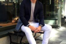 07 a grey tee, a black blazer, white jeans and sneakers for comfort