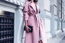 07 a pink coat, a grey dress and blush velvet heels look heavenly beautiful