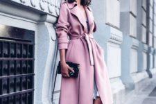 07 a pink coat, a grey dress and blush velvet heels look heavenly beautiful