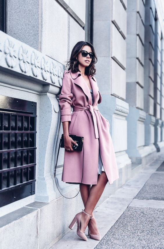 a pink coat, a grey dress and blush velvet heels look heavenly beautiful