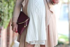 07 a white cable knit dress, a neutral cardigan with a bow belt and brown suede tall boots