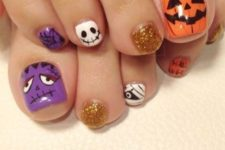 07 alluring toe nails with spooky faces, Frankestein in purple and Jack-o-lanterns