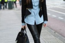 07 black cropped leather pants, a blue shirt, a black zip blazer, metallic shoes and a black backpack
