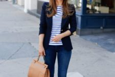 07 navy jeans, a striped blue and white shirt, a navy blazer, brown suede heels and a matching bag