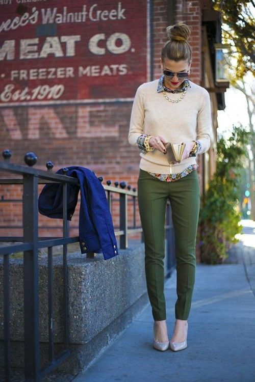 olive green pants, a floral print shirt, a creamy sweater, a statement necklace and nude heels